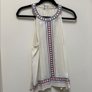 Cream tank top with neon designs